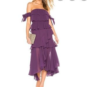 Misa ISIDORA Tiered flounced tie sleeve dress